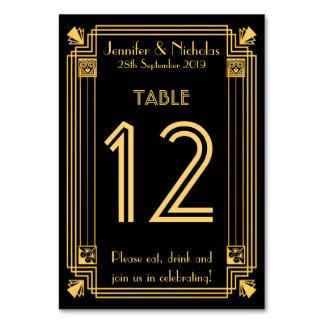 テーブル数を結婚する素晴らしいGatsbyの20年代のアールデコ カード
