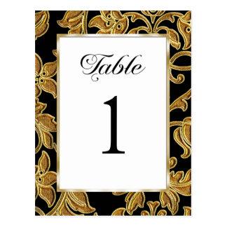 テーブル数エンボスの金ゴールドのダマスク織 ポストカード