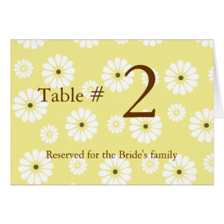 テーブル数カードを結婚するスタイリッシュなデイジー カード
