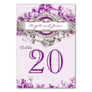 テーブル数カードを結婚する薄紫の灰色のヴィンテージ カード