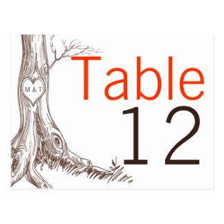 テーブル数カード秋の木のイニシャルの彫刻Autum ポストカード