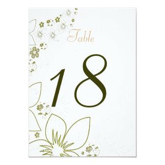 テーブル数カード緑および金ゴールドのシンプルな結婚式 11.4 X 15.9 インビテーションカード