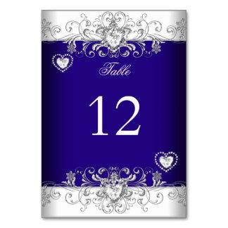 テーブル数ロイヤルブルーの結婚式の銀のダイヤモンド カード