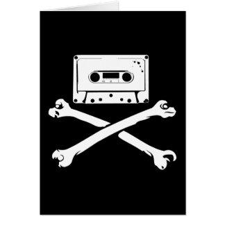 テープ及び骨が交差した図形音楽海賊海賊行為の家の収録 グリーティングカード