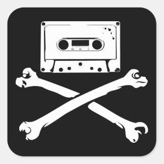テープ及び骨が交差した図形音楽海賊海賊行為の家の収録 正方形シール