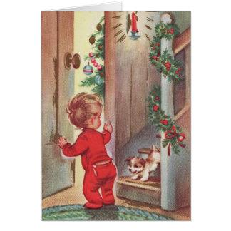テーマヴィンテージの子供および子犬のクリスマス カード