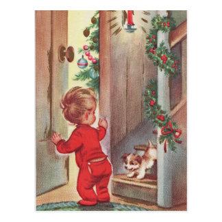 テーマヴィンテージの子供および子犬のクリスマス ポストカード