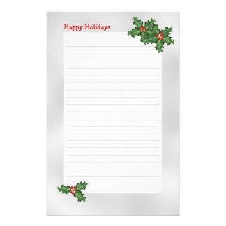 テーマ休日緑のヒイラギによって並べられる筆記用紙 便箋