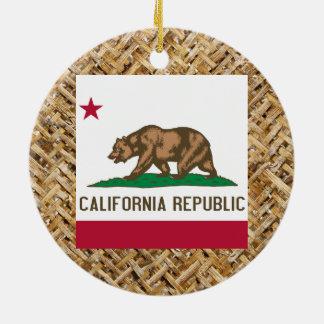 テーマ織物のカリフォルニア旗 セラミックオーナメント
