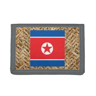 テーマ織物の北朝鮮の旗 ナイロン三つ折りウォレット