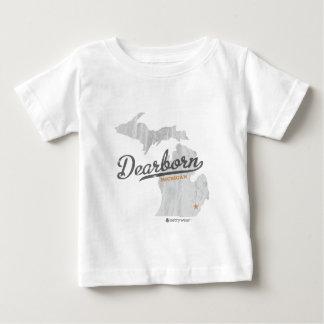 ディアボーンミシガン州の地図 ベビーTシャツ