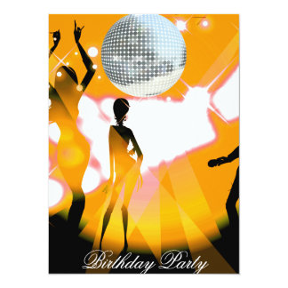 ディスコのレトロの誕生日のパーティの招待状 カード