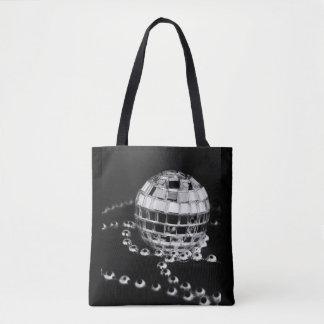 ディスコの球のb&wの写真は黒いトートバックを逆にしました トートバッグ