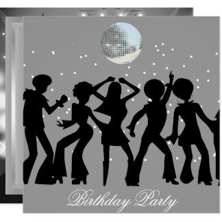 ディスコの70年代の誕生日のパーティの招待状 カード