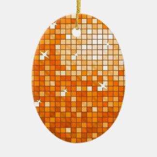 ディスコはオレンジオーナメントの楕円形をタイルを張ります セラミックオーナメント