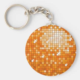 ディスコは円形オレンジkeychainをタイルを張ります キーホルダー
