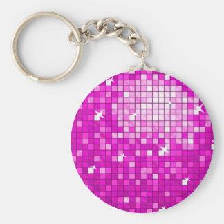 ディスコは円形ピンクのkeychainをタイルを張ります キーホルダー