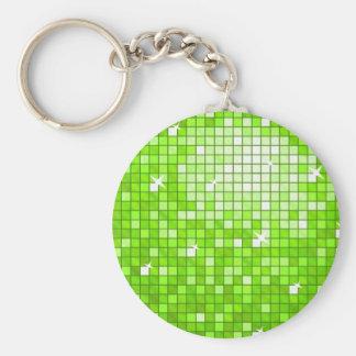 ディスコは円形緑のkeychainをタイルを張ります キーホルダー
