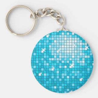 ディスコは円形青いkeychainをタイルを張ります キーホルダー