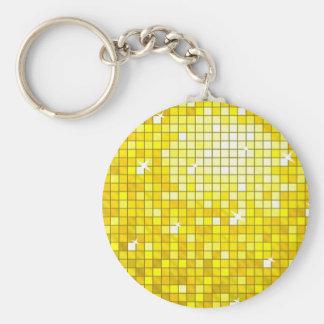 ディスコは円形黄色いkeychainをタイルを張ります キーホルダー