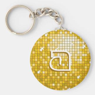 """ディスコは円形""""金ゴールド""""の「モノグラム」のkeychainをタイルを張ります キーホルダー"""