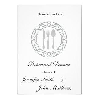 ディナー用大皿のリハーサルの夕食の招待状 12.7 X 17.8 インビテーションカード