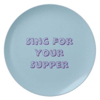 """ディナー用大皿は""""あなたの夕食のために歌います"""" プレート"""