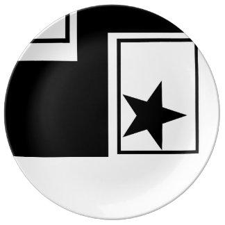 ディナー用大皿-黒く及び白いCOLLECITION 磁器プレート