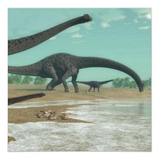 ディプロドクスの恐竜の群れ- 3Dは描写します 13.3 スクエアインビテーションカード