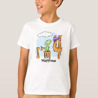 ディーノのおもしろいの第4誕生日の名前入りな恐竜 Tシャツ