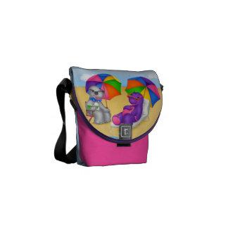 ディーノBuddies™の小型メッセンジャーバッグ-ビーチの時間 メッセンジャーバッグ