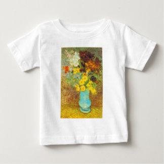 デイジーおよびアネモネのプリントが付いているつぼ ベビーTシャツ