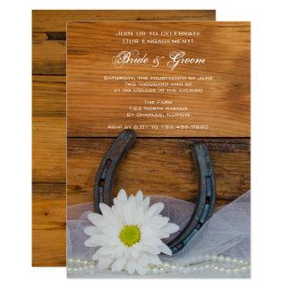 デイジーおよび蹄鉄の国の婚約の納屋のパーティー 12.7 X 17.8 インビテーションカード