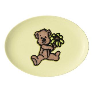 デイジーくまのデザインの黄色 磁器大皿