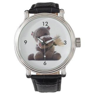 デイジーのスケッチの写真を持つ幸せな灰色のカバ 腕時計