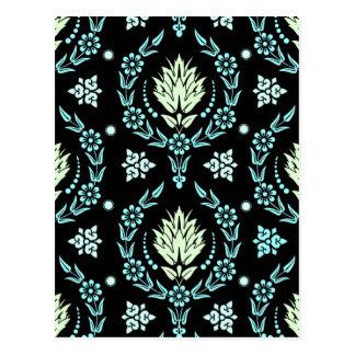 デイジーのダマスク織、パステル: 緑、水および淡い色のな水 ポストカード