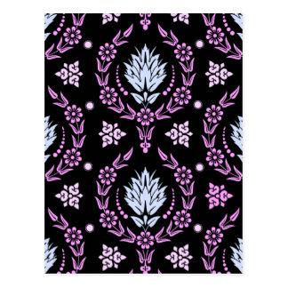 デイジーのダマスク織、パステル: 青く、ピンク淡い色のな薄紫 ポストカード