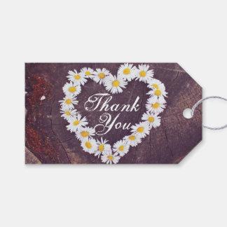 デイジーのハートの素朴な木はメッセージカード感謝していしています ギフトタグ