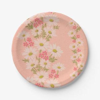 デイジーのピンクのヴィンテージの壁紙の紙皿 ペーパープレート