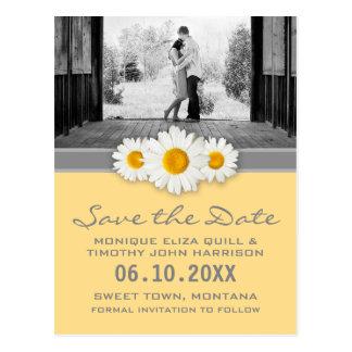 デイジーのリボン-黄色い灰色及び白の保存日付 ポストカード