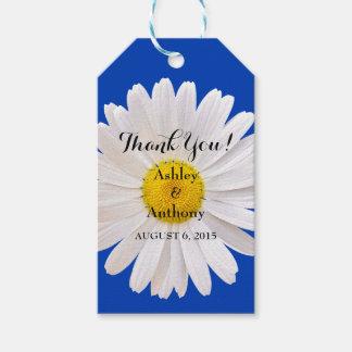 デイジーのロイヤルブルーの白い結婚式はメッセージカード感謝していしています ギフトタグ