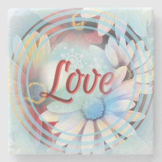 """デイジーの大理石のコースターの力の単語""""愛"""" ストーンコースター"""