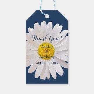 デイジーの濃紺の白い結婚式はメッセージカード感謝していしています ギフトタグ