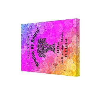 デイジーの背景の虹のフランスのな穀物袋 キャンバスプリント