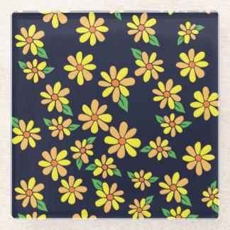 デイジーの花柄パターン ガラスコースター