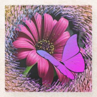 デイジーの蝶 ガラスコースター