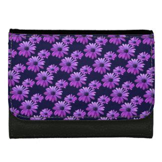 デイジーの財布の紫色のデイジーの青い花の財布