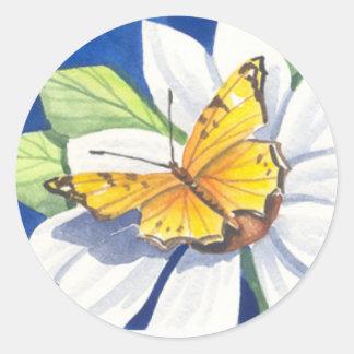 デイジーの黄色い蝶 ラウンドシール
