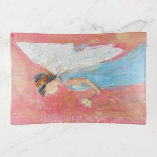 デイジーを握っている天使の子供 トリンケットトレー