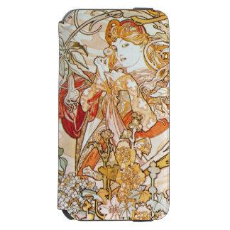 デイジーアールヌーボーを持つアルフォンス島のミュシャの女性 INCIPIO WATSON™ iPhone 5 財布型ケース